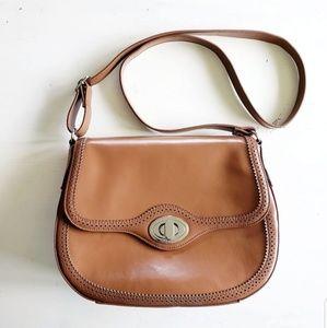 Giani Bernini Tan Leather Crossbody Saddle Bag
